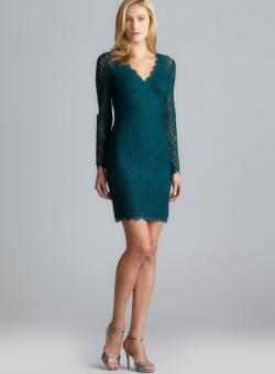 Adrianna Papell V-Neck Long Sleeve Allover Lace Dress