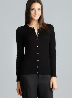 Evelyn Cashmere Black Ribbed Trim Petite Cashmere Cardigan