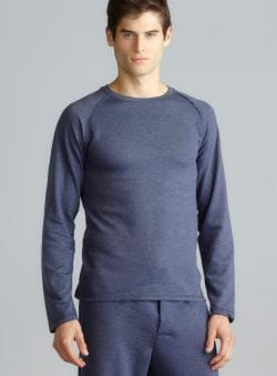 Perry Ellis Blue Crew Neck Raw Edge Raglan Sleeve Sleep Top
