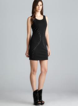 Romeo & Juliet Couture Sleeveless Black Bead Embellished Dress