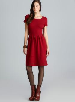 Taylor Scoop Neck Pleated Waist Ribbed Knit Petite Dress