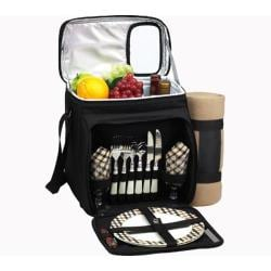 Picnic at Ascot London Picnic Cooler For Two with Blanket Black/London Plaid