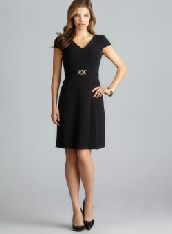 Tahari V-Neck Cap Sleeve Princess Seam Petite Dress
