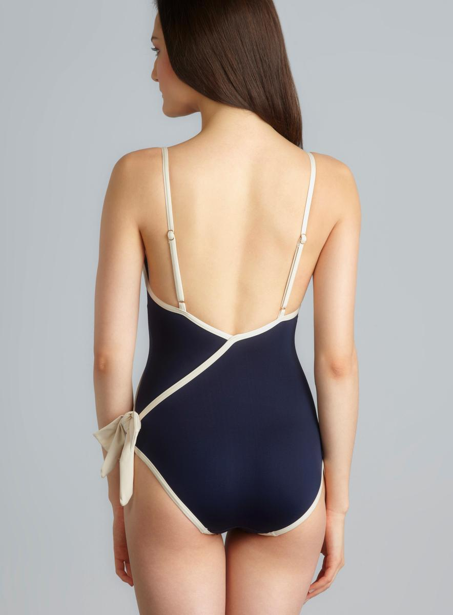 Marc By Marc Jacobs Deep V Side Bow Contrast Trim One-Piece