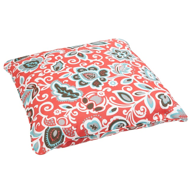 Floral Coral Corded Outdoor/ Indoor Large 28-inch Floor Pillow