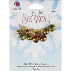 Tis The Season Glass/Metal Charms - Red and Gold Drops 9/Pkg