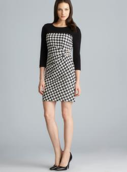 Tahari Side Gathered Exposed Back Zipper Houndstooth Petite Dress