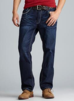 XRAY Five Pocket Contrast Seam Slim Straight Leg Jeans