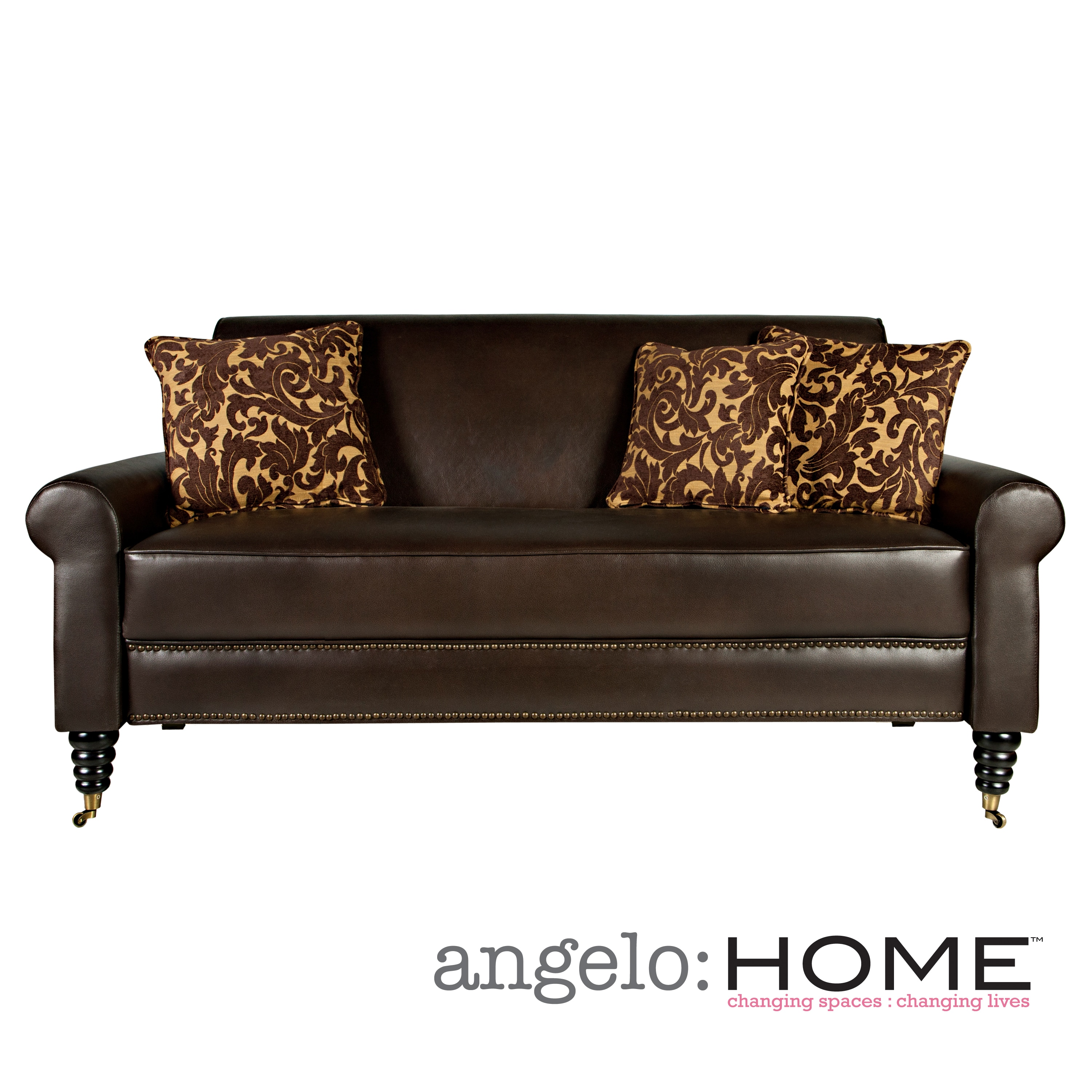 angelo:HOME Harlow Sofa in Coffee Brown Renu Leather