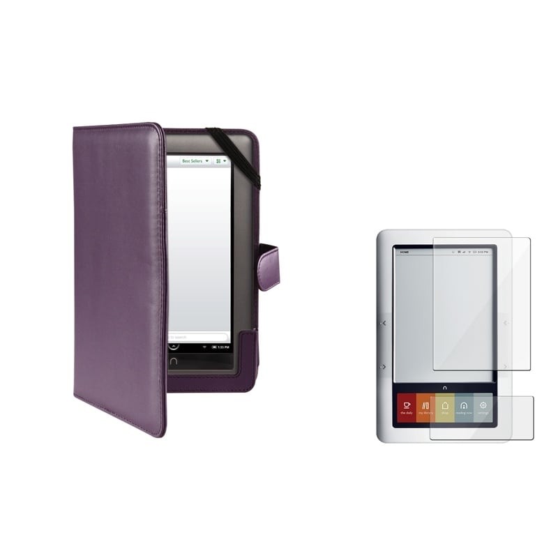 BasAcc Purple Leather Case/ Screen Protector for Barnes & Noble Nook