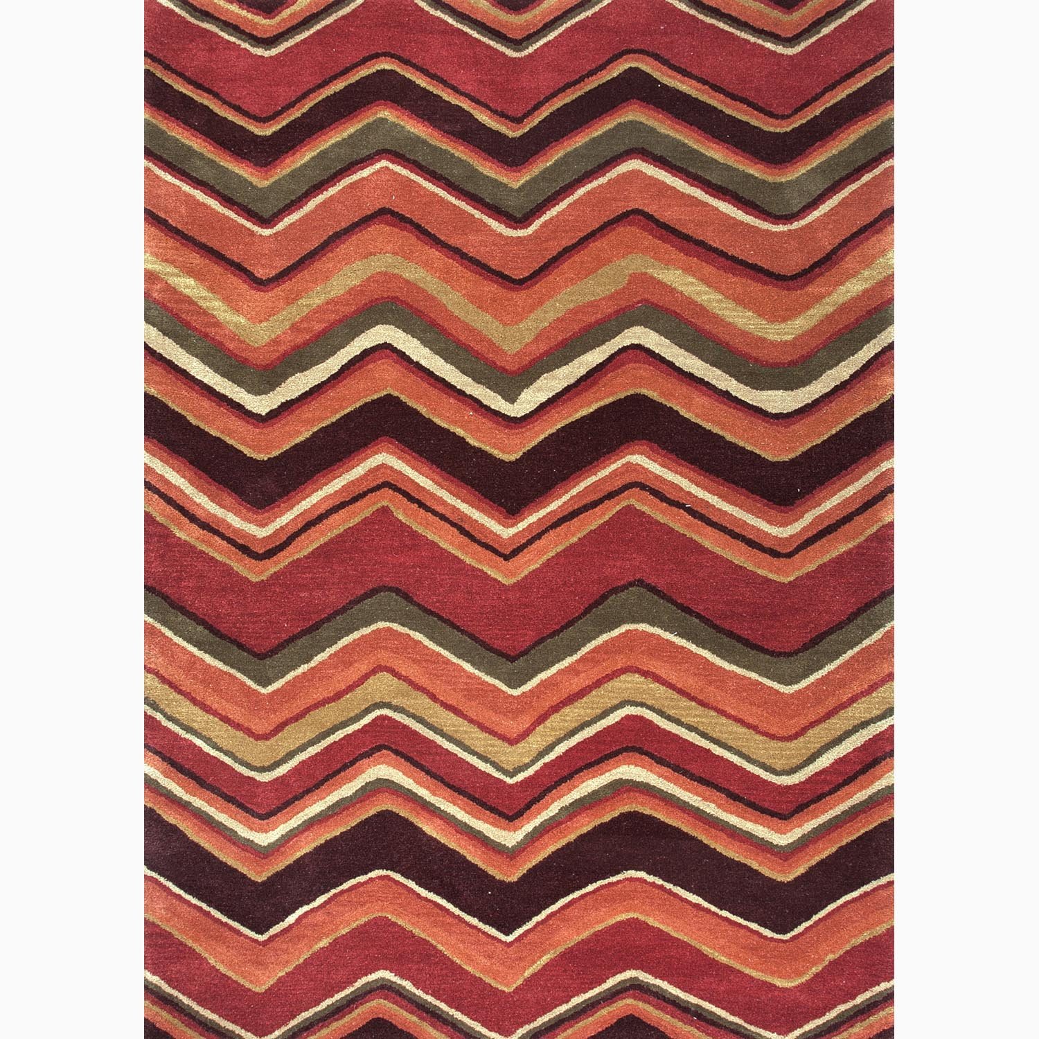 Handmade Geometric Pattern Red/ Orange Wool Rug (9 x 12)