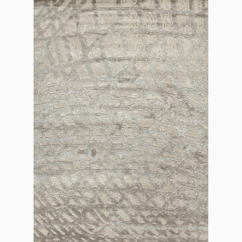 Handmade Abstract Pattern Ivory/ Gray Wool/ Silk Rug (8 x 11)