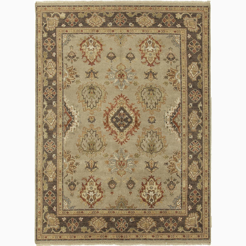 Handmade Oriental Pattern Gray/ Brown Wool Rug (10 x 14)
