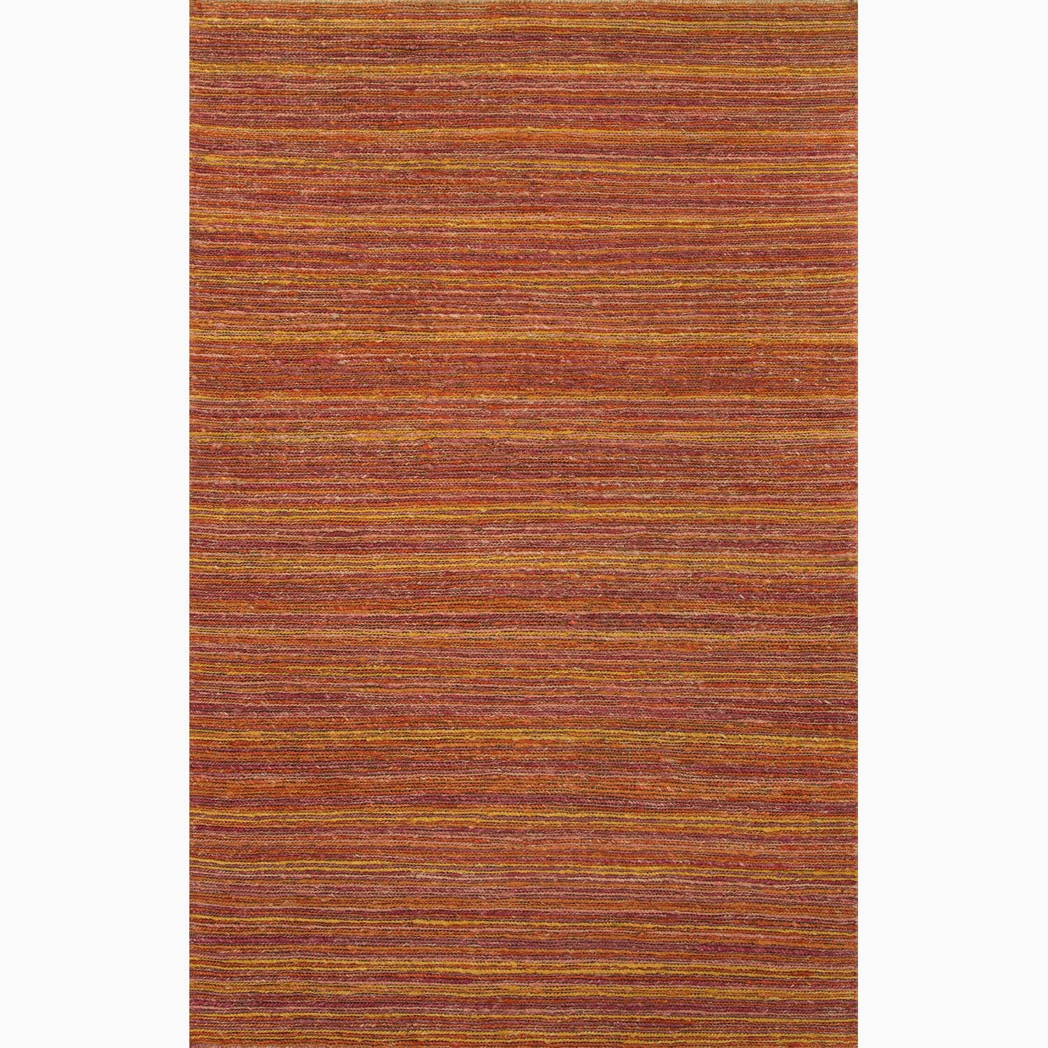 Handmade Stripe Pattern Red/ Orange Hemp Rug (2 x 3)