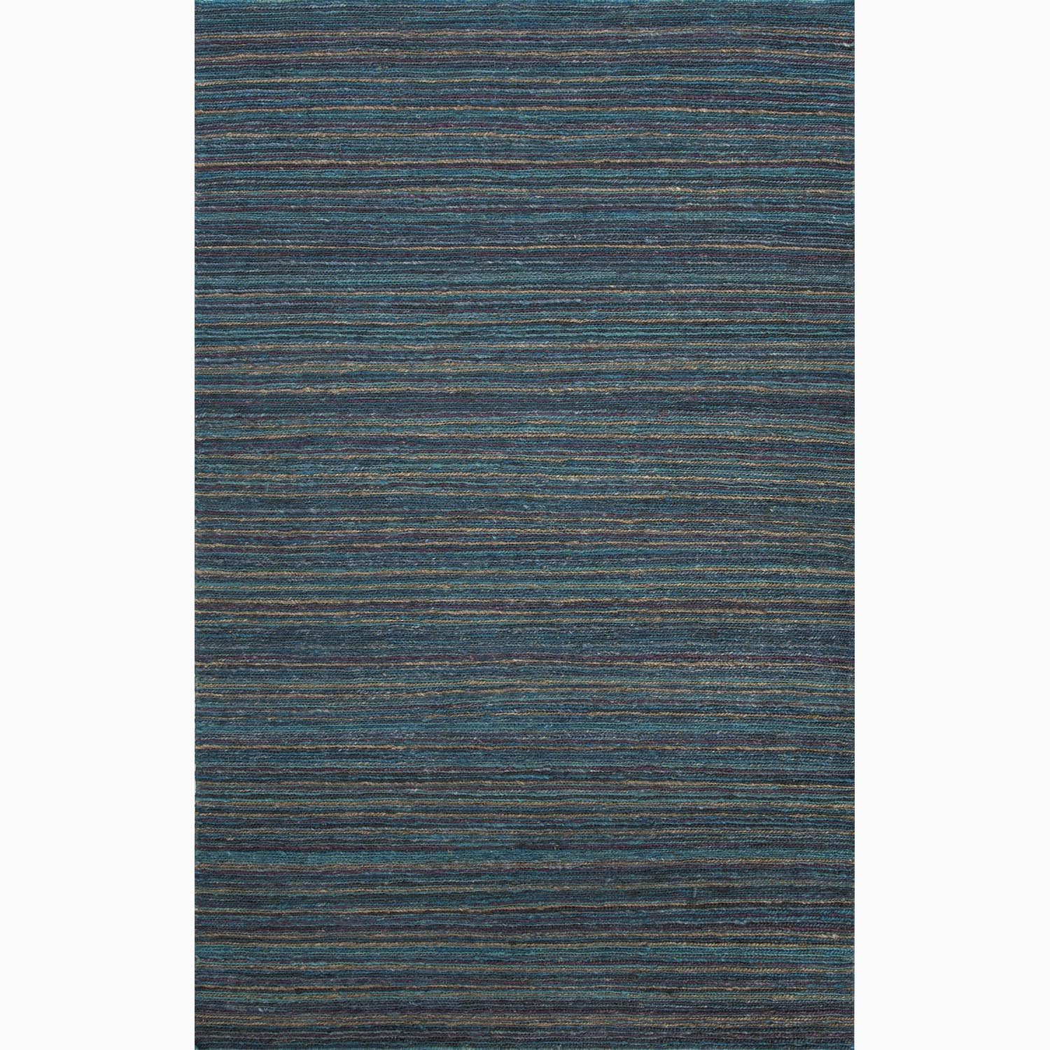 Handmade Stripe Pattern Blue/ Purple Hemp Rug (3'6 x 5'6)