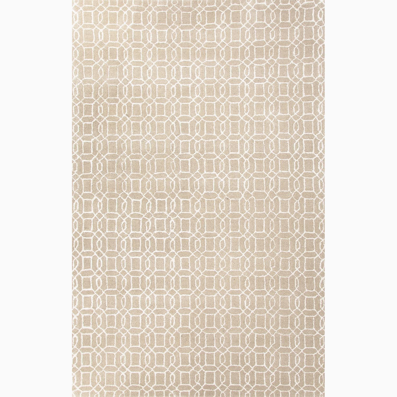 Handmade Geometric Pattern Taupe/ Ivory Wool/ Art Silk Rug (8 x 11)