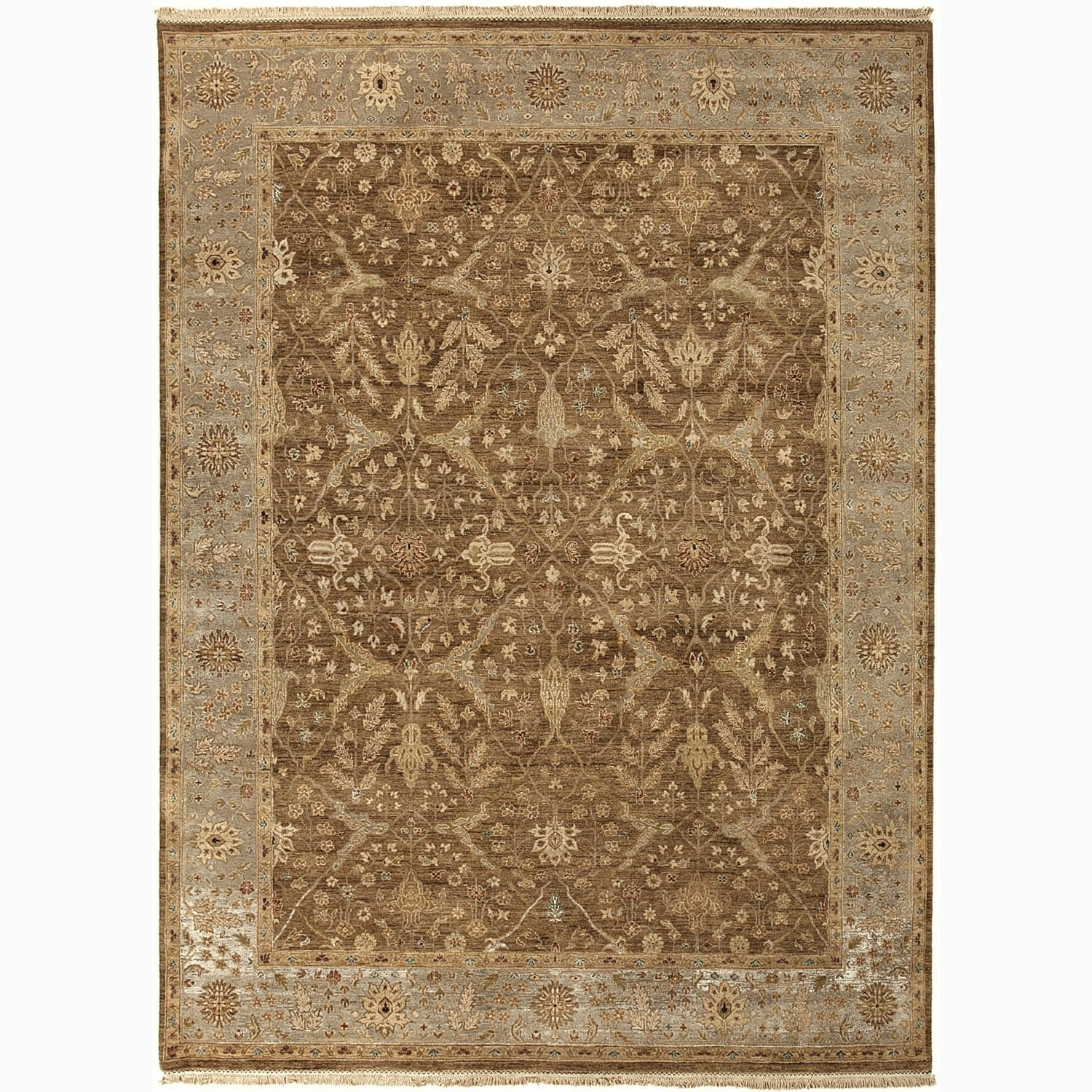 Handmade Oriental Pattern Brown/ Gray Wool Rug (6 x 9)