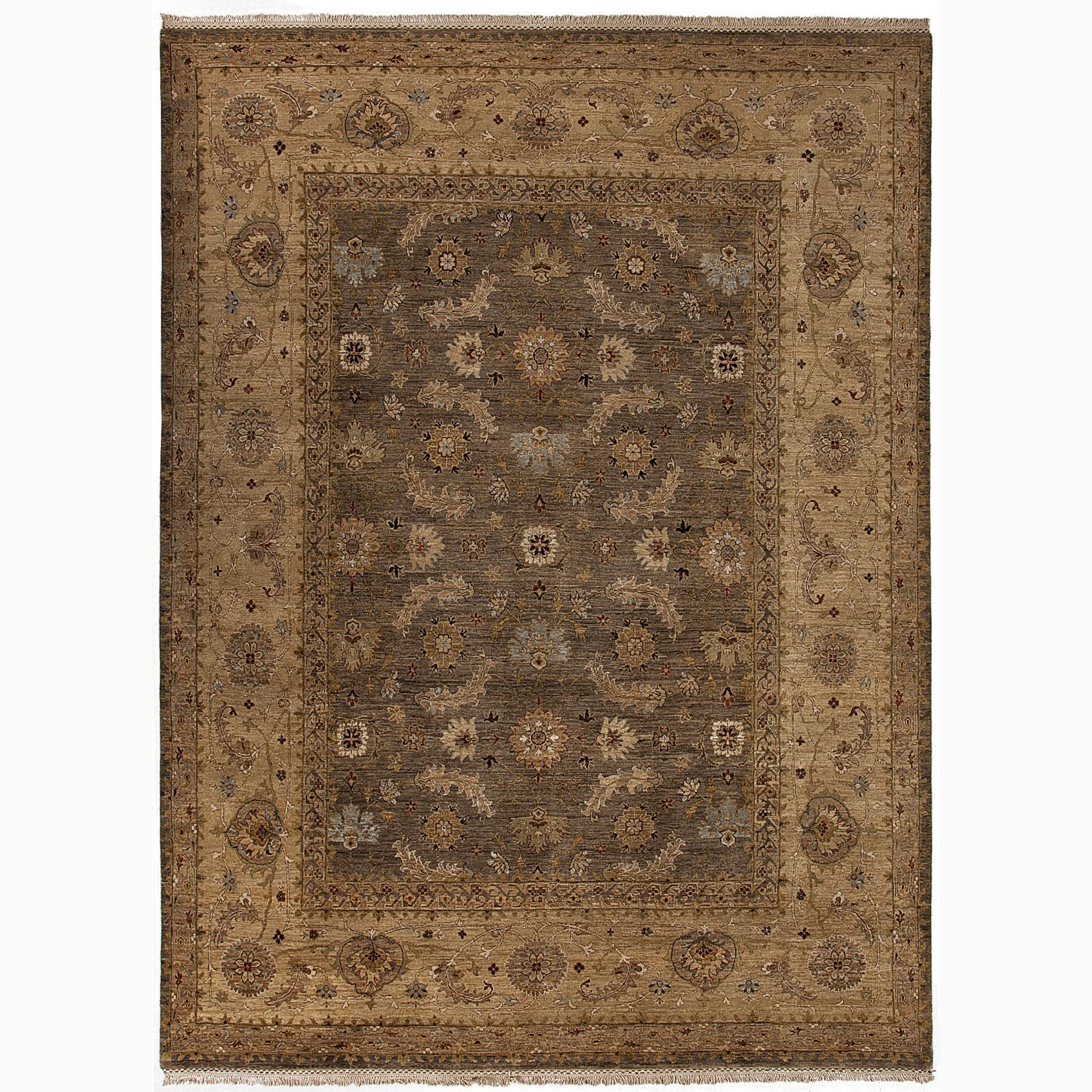 Handmade Oriental Pattern Brown/ Tan Wool Rug (6 x 9)