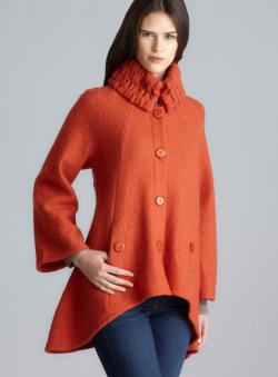For Cynthia Two Pocket Smocked Collar A-Line Wool Coat