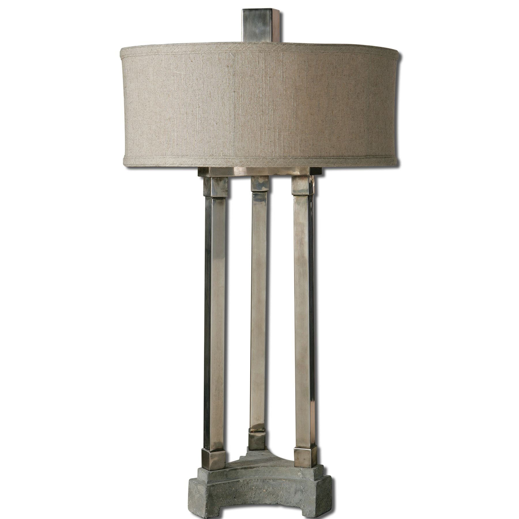 Risto 1-Light Antiqued Brushed Aluminum Table Lamp