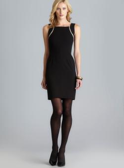 Calvin Klein Square Neck Zipper Embellished Sheath Dress