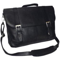 Royce Leather Vaquetta Triple Compartment Laptop Briefcase Black