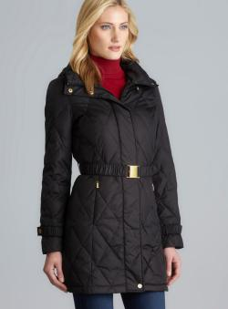 Ellen Tracy Quilted Down Coat With Drawstring Hood & Belt