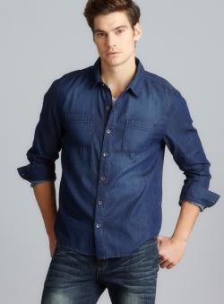 Seven7 Long Sleeve Button Down Denim Shirt