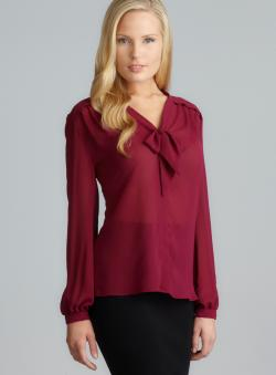 Max Studio Tie Neck Pintucked Crepe Button Down Petite Top