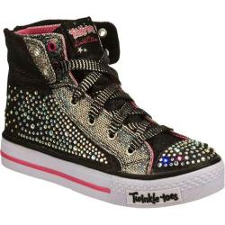 Girls' Skechers Twinkle Toes Shuffles Rock N Beauty Black/Silver