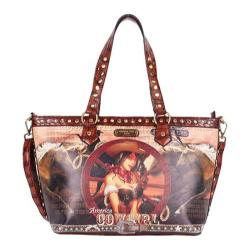 Women's Nicole Lee Cowgirl Wheel Print Tote Bag Cowgirl Wheel Brown