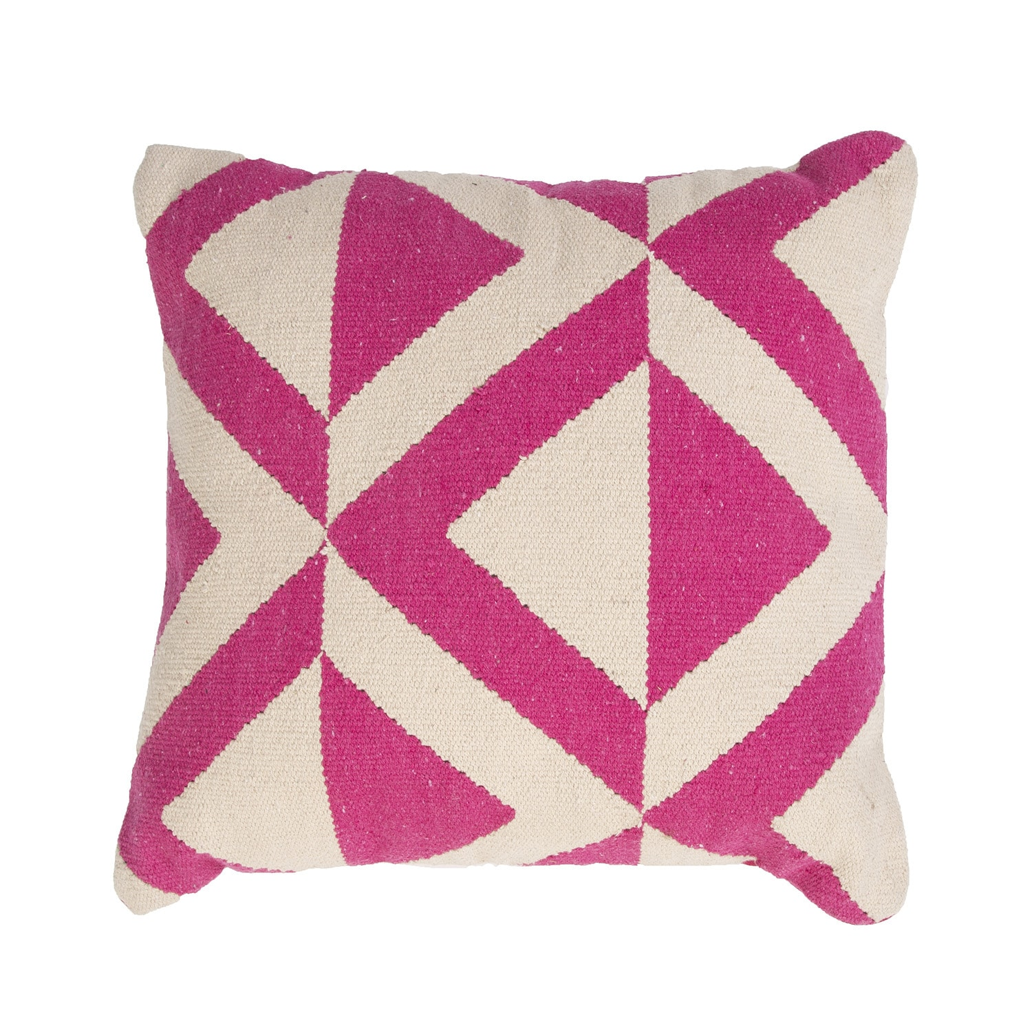 Handmade Pink and Ivory Cotton 18x18-inch Throw Pillow