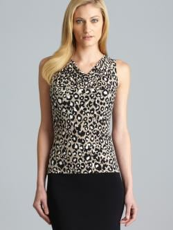 Calvin Klein Cowl Neck Animal Print Shell