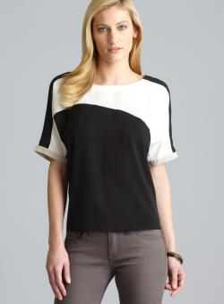 Calvin Klein Dolman Sleeve Colorblock Top