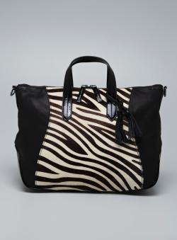 Charles Jourdan Giselle II Zebra Pony Hair Leather Tote
