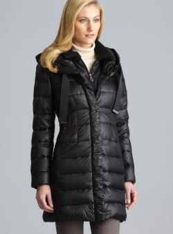 Elie Tahari Olivia Packable Down Coat With Knit Collar