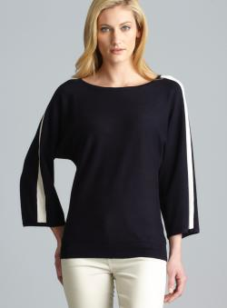 Joan Vass Boat Neck 3/4-Sleeve Knit Top