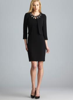 Tahari Kerry Sleeveless Dress With Embellished Neckline Jacket