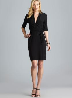Tahari Lisa Faux Wrap Side Tie Dress