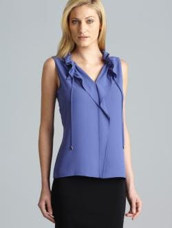 Tahari Ruffle Neck Sleeveless Top