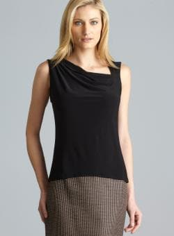 Tahari Sleeveless Asymmetrical Cowl Neck Top