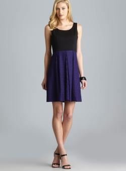 Tahari Sleeveless Dress With Lace Overlay Skirt