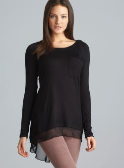 Philosophy Long Sleeve One Pocket Sheer Gored Back Top