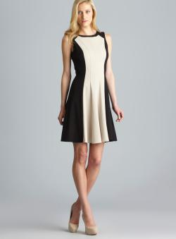 Calvin Klein Contrast Panel Fit & Flare Dress