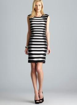 Calvin Klein Sleeveless Back Zip Striped Knit Dress