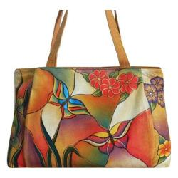 Women's ANNA by Anuschka Large Shopper Butterfly Glass Painting