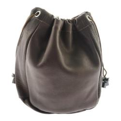 Piel Leather Large Drawstring Pouch 2140 Chocolate Leather
