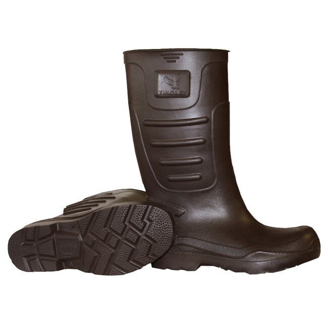 Men's Brown EVA Plain Toe Knee-high Rain Boots