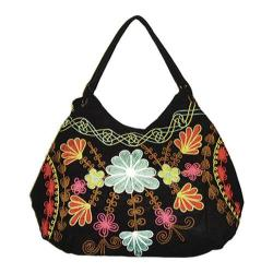 Women's Bamboo54 Hobo Embroidered Bag Black/Blue/Red Flowers