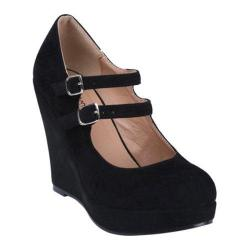 Women's Beston Dolly-4 Black Faux Suede